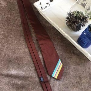 Marc Jacobs Silk Necktie - Brown Rainbow Striped